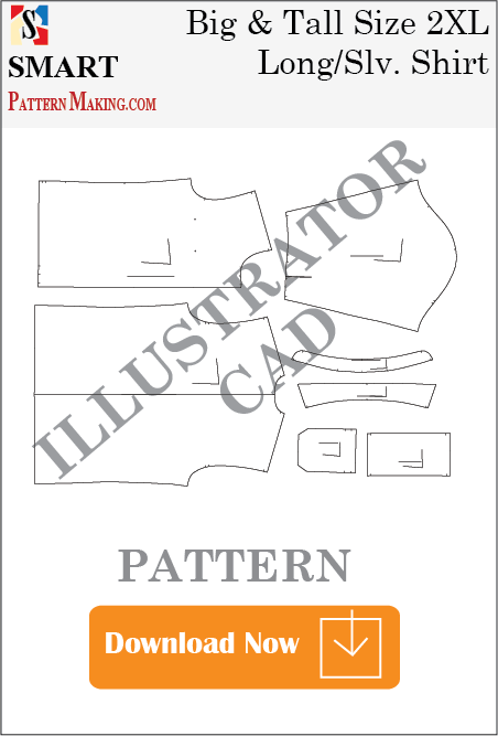 Big and Tall Long Sleeve Shirt Downloadable illustrator Pattern - smart pattern making