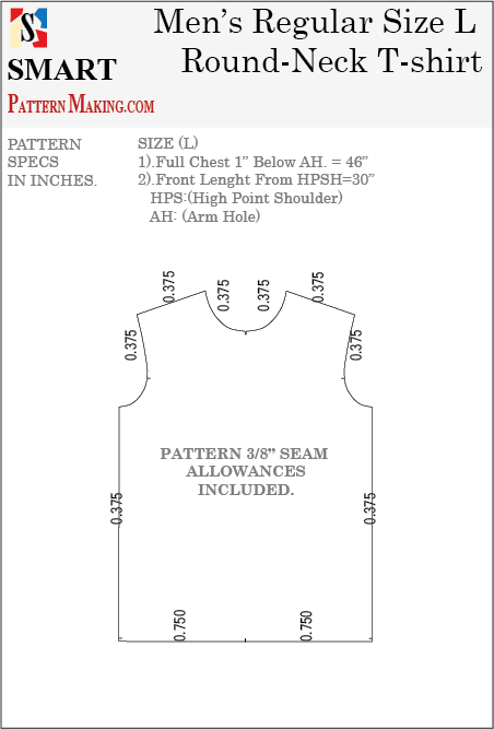 Men's Round Neck T-Shirt Downloadable Gerber/CAD Pattern