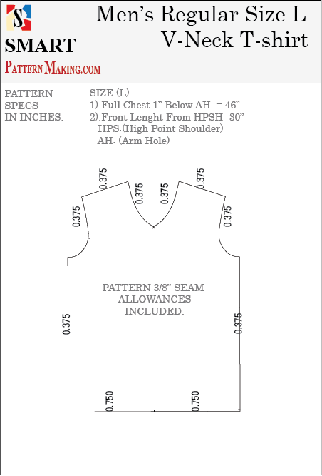 Men's V Neck T-Shirt Downloadable Gerber/CAD Pattern - smart pattern making