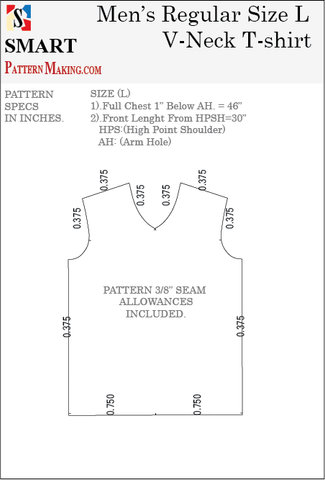 Men's V Neck T-shirt Sewing Pattern 3 Formats Download