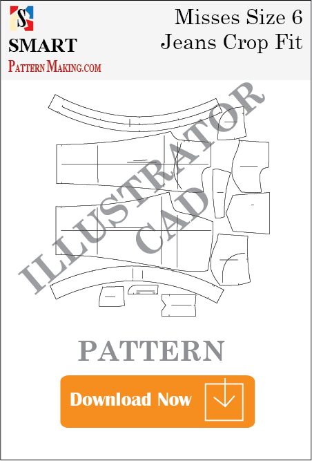illustrator Misses Jeans Crop Fit Sewing Pattern Download
