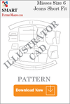 illustrator Misses Jeans Short Fit Sewing Pattern Download - smart pattern making