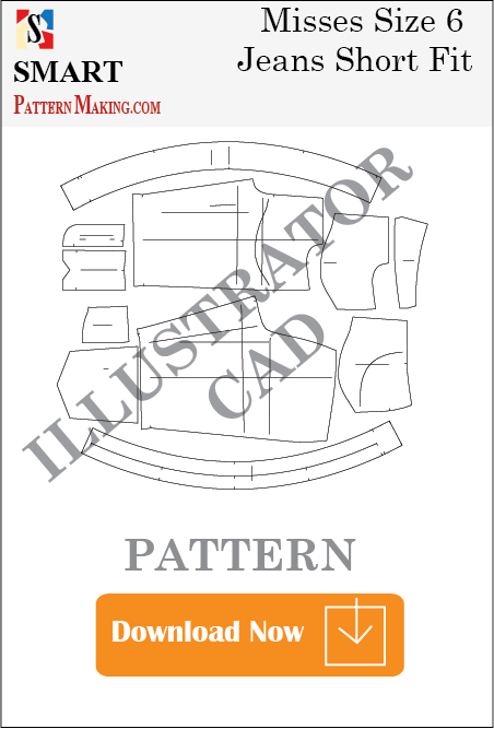 illustrator Misses Jeans Short Fit Sewing Pattern Download