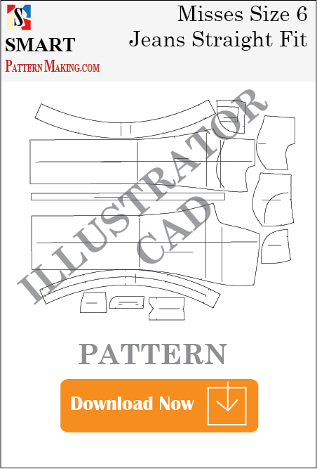 illustrator Misses Jeans Straight Fit Sewing Pattern Download - smart pattern making