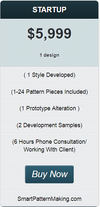 StartUp Package (1 Style Developed) (1-24 Pattern Pieces Included) - smart pattern making