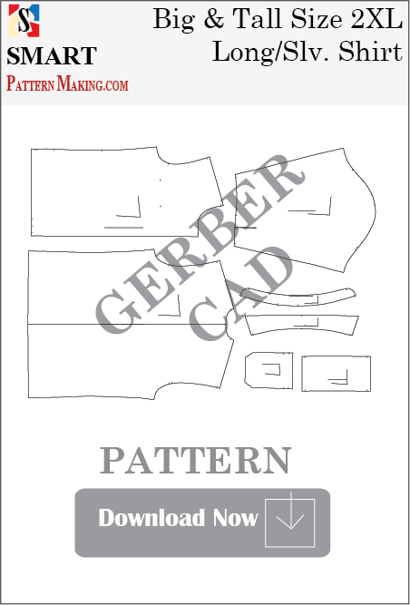 Big and Tall Long Sleeve Shirt Downloadable Gerber/CAD Pattern - smart pattern making