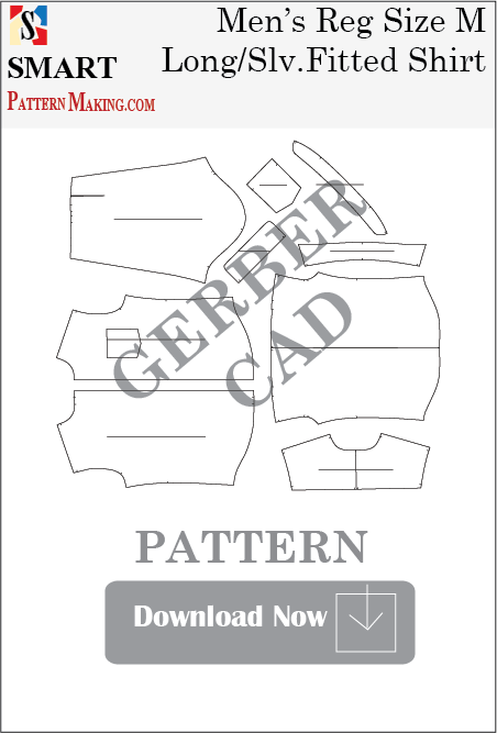 Men's Long Sleeve Fitted Shirt Downloadable Gerber/CAD Pattern