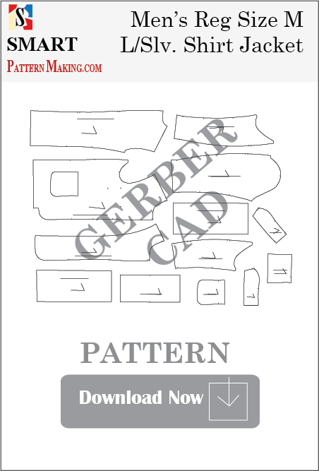 Men's Long Sleeve Shirt Jacket Downloadable Gerber/CAD Pattern - smart pattern making