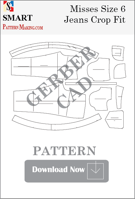 Misses Jeans Crop Fit Downloadable Gerber/CAD Pattern