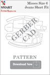 Misses Jeans Short Fit Downloadable Gerber/CAD Pattern - smart pattern making