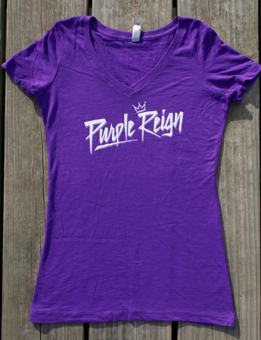Purple Reign - fitted v-neck
