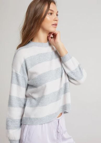 Bishop Sleeve Sweater - Heather Grey Stripes