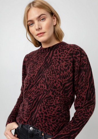 Genevieve Animal Print Crew Neck Sweater - Burgundy