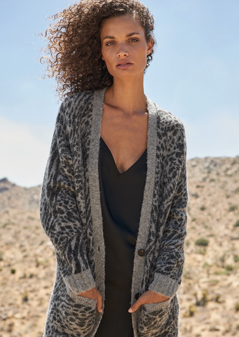 Oslo Cardigan - Grey Animal Print