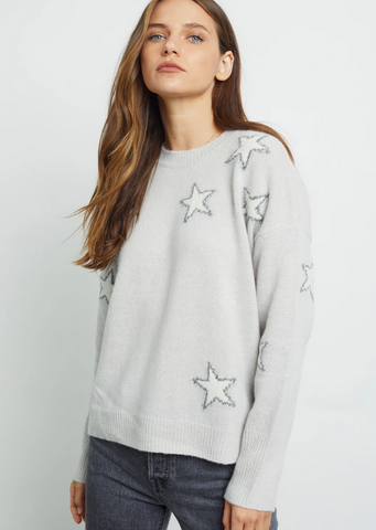 Virgo Star Print Crew Neck Sweater - Grey/White