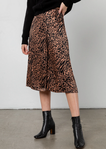 Mayfair Animal Print Wrap Skirt - Cinnamon