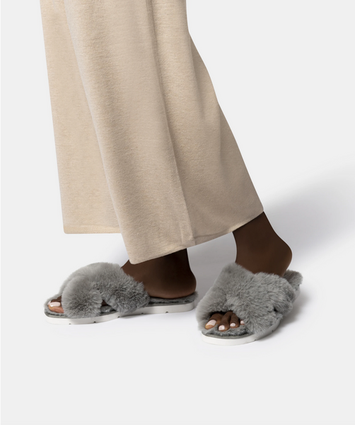 Pillar Faux Fur Slipper - Grey