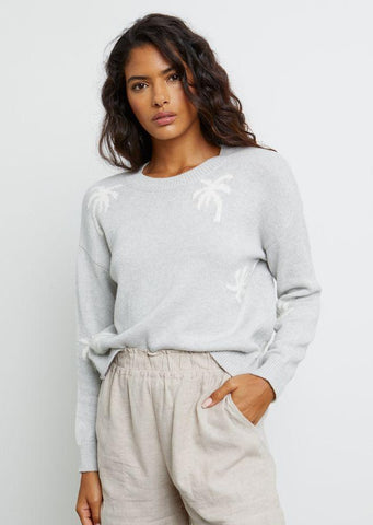 Perci Palm Print Knit Sweater - Heather
