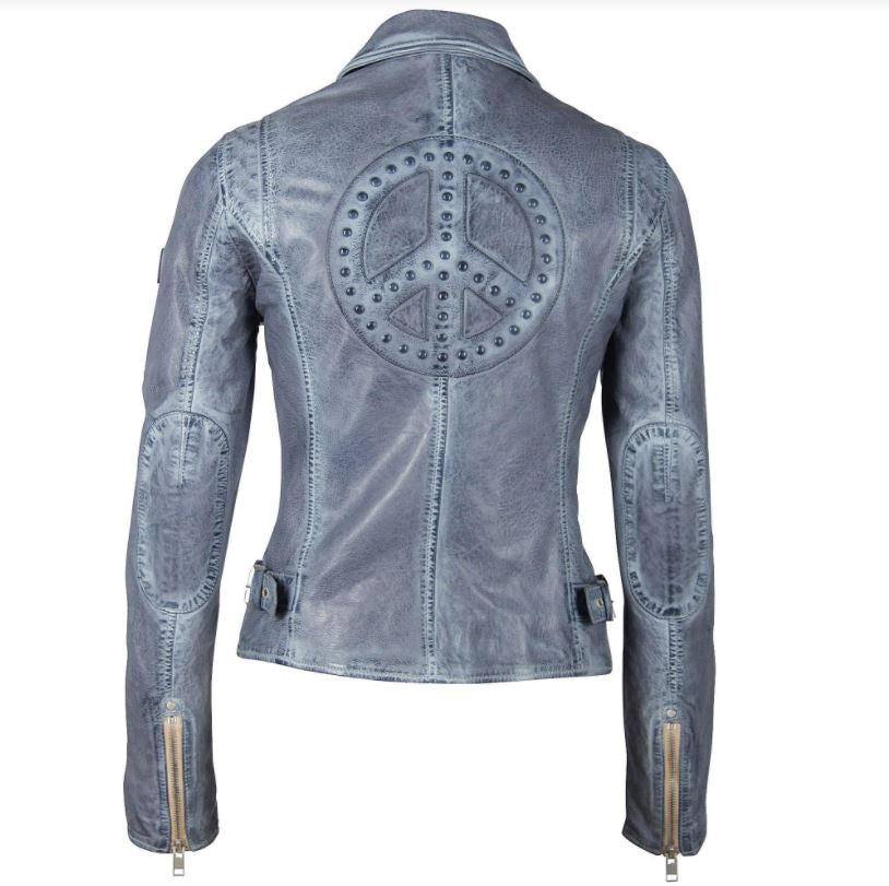 Maysie Peace Leather Jacket - Sky Blue