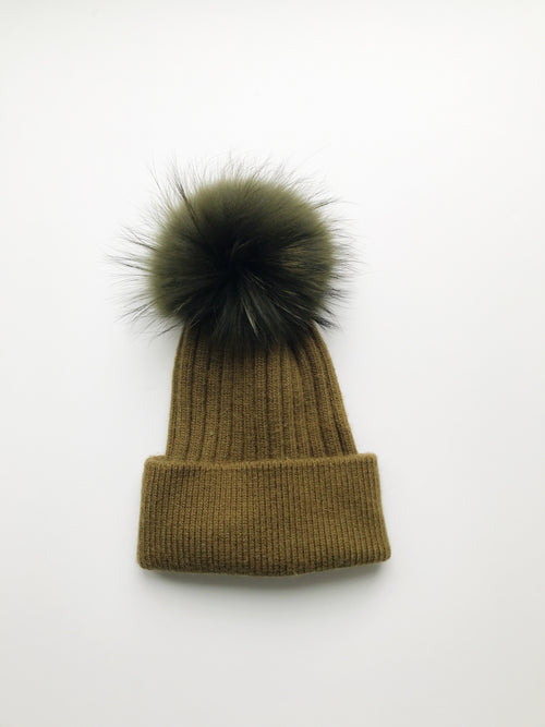 Equation Elliott Hat in Olive w/ Olive pom / EQUATION Boutique