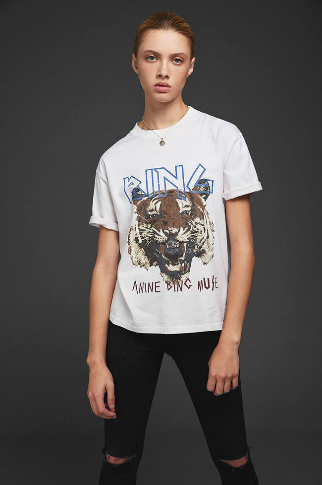 Anine Bing Tiger Tee in White / EQUATION Boutique