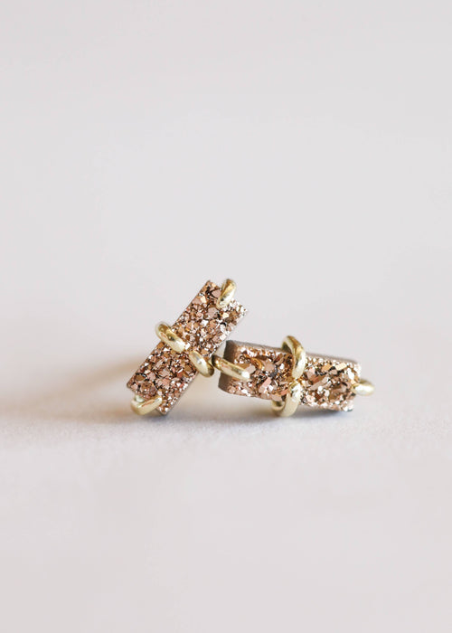 JaxKelly - Rose Gold Druzy Bar Stud / EQUATION Boutique