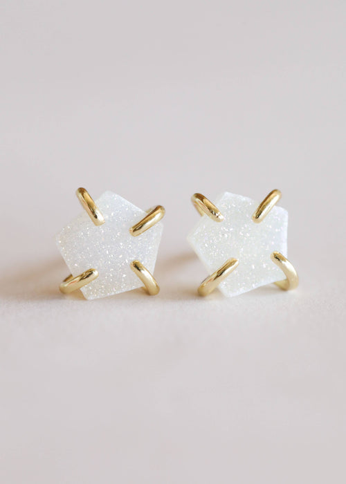 JaxKelly - White Druzy Prong Earrings / EQUATION Boutique