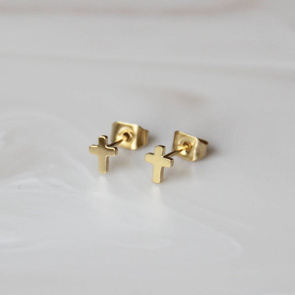 MAIVE - Cross Studs-Gold