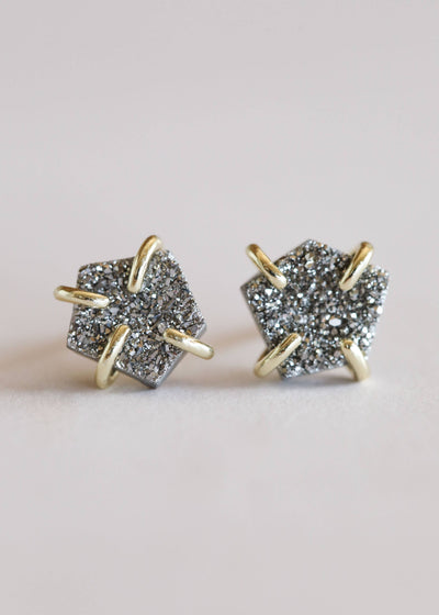 JaxKelly - Silver Druzy Prong Earrings / EQUATION Boutique