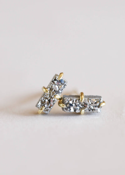 JaxKelly - Silver Druzy Bar Studs / EQUATION Boutique
