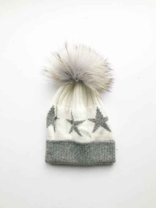 Equation Starry Hat in White with heather gray stars / EQUATION Boutique