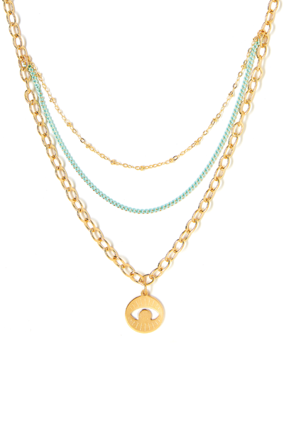 Tess+ Tricia Lucia Charm Aqua necklace / EQUATION Boutique