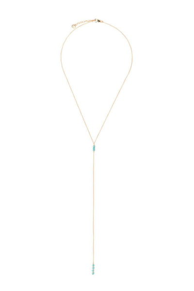 Tess+Tricia Matte Turquoise Lariat Necklace - EQUATION