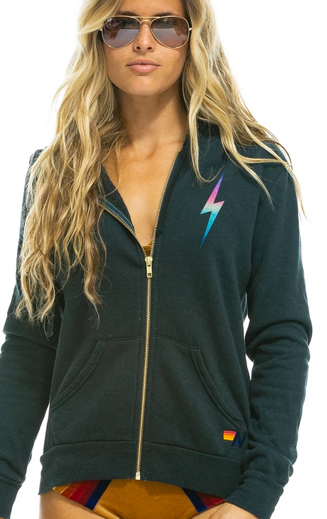 Aviator Nation Bolt Zip Hoodie in Rainbow Pink / EQUATION Boutique