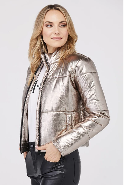 David Lerner New York Bella Metallic Crop Puffer / EQUATION Boutique