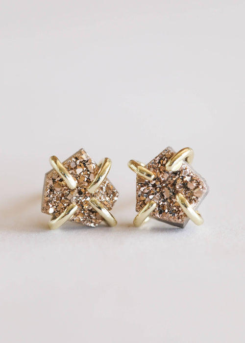 JaxKelly - Rose Gold Druzy Prong Earrings / EQUATION Boutique