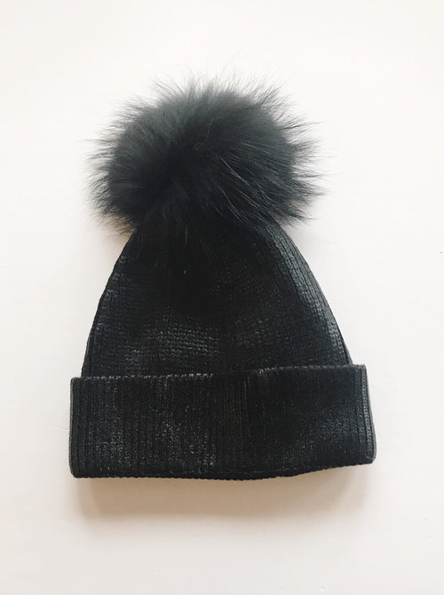 Equation Ali Pom Hat in Black Foil / EQUATION Boutique