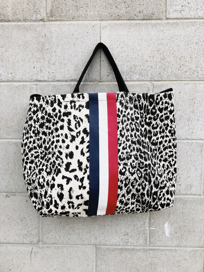 ToteM Large leopard Tote with Stripe