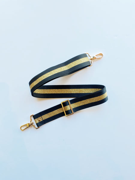 Equation Black with Gold Stripe Bag Strap / EQUATION Boutique