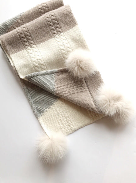 Mitchie's matching Knit Wool Color Blocking Scarf-Taupe / EQUATION Boutique