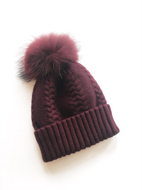 Equation Olivia Hat in Wine w/ Wine pom / EQUATION Boutique