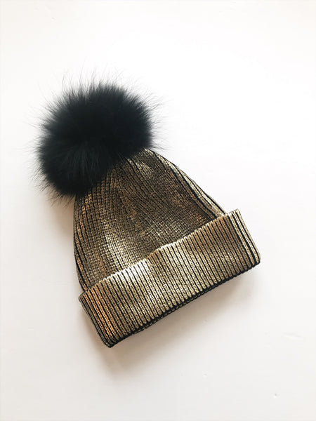 Equation Ali Pom Hat in Gold Foil / EQUATION Boutique