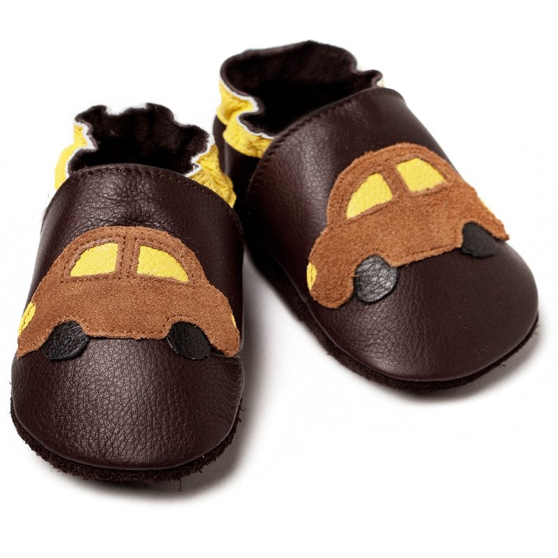 Liliputi Soft Sole Shoes: Brown Cars Bi-Turbo