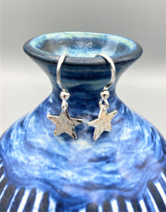 Sterling Silver 11mm hammered star drop earrings