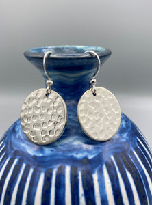 Sterling Silver 20mm round textured disc drop earrings