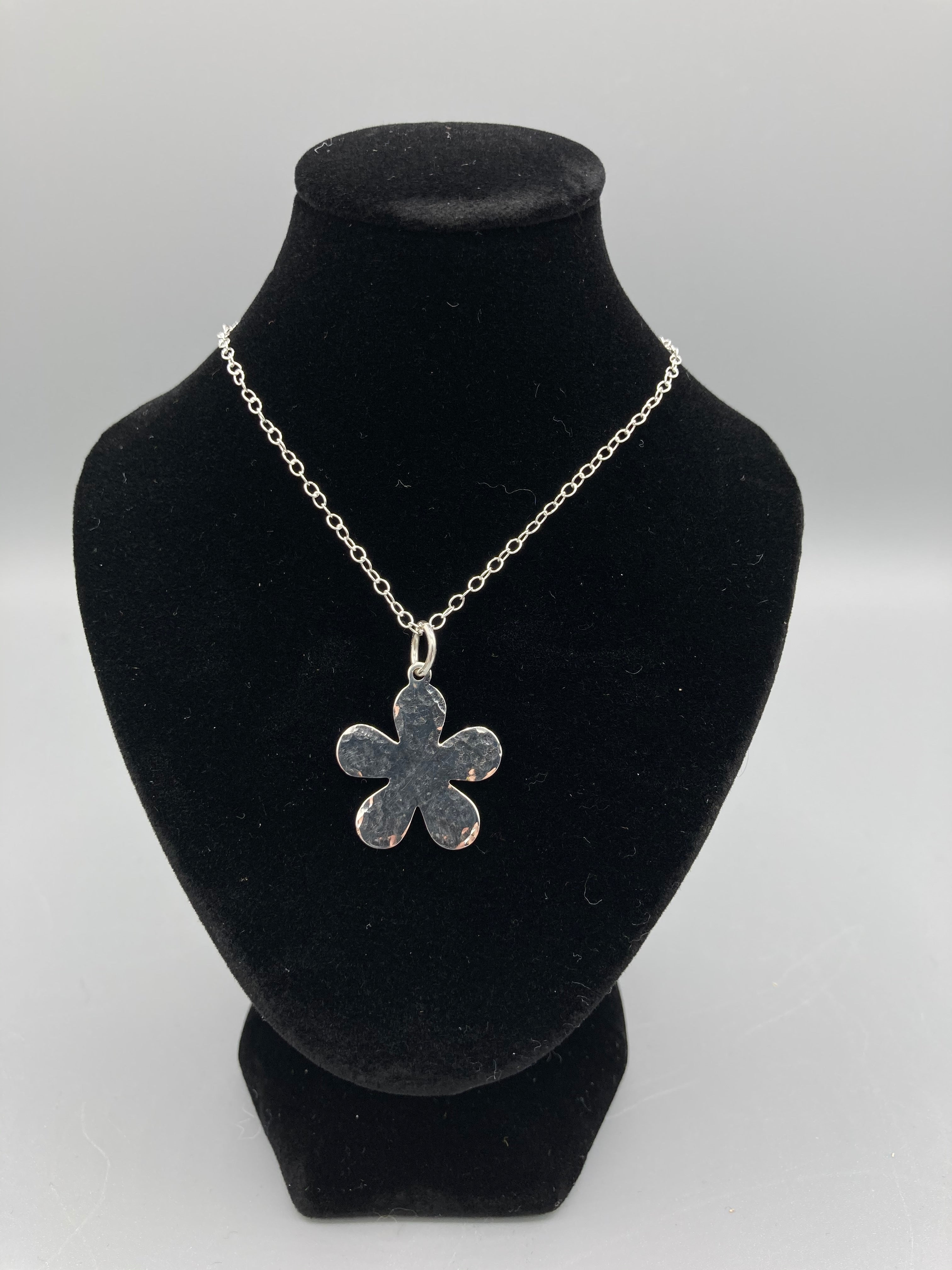Sterling Silver Pendant. Single flower pendant 20mm wide hammered finish