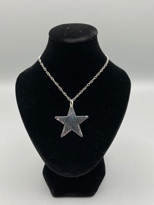 Sterling Silver Pendant. Single Star pendant 25mm wide hammered finish