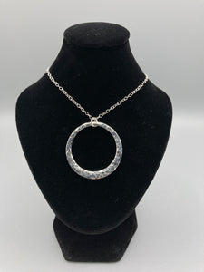 Sterling Silver Pendant. Single offset ring pendant 32mm wide hammered finish