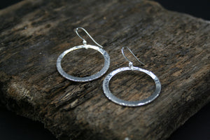 Sterling Silver graduated hoop drop earrings on wires, hammer finished 31mmx1mm