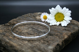 Sterling Silver Bangle. Hammered finish 70mm x 5.4mm